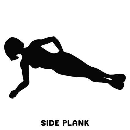 Planche de côté. Exercice sportif. Silhouettes de femme faisant de l'exercice. Entraînement, formation Illustration vectorielle