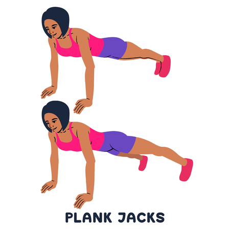 PLank jacks. Plank. Planking. Sport exersice. Silhouettes of woman doing exercise. Workout, training Vector illustration Vectores