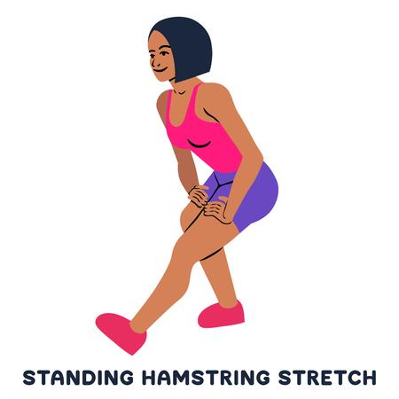 스탠딩 햄스팅 스트레칭. 스포츠 운동입니다. 운동을 하는 여자의 실루엣입니다. 운동, 훈련 벡터 일러스트 레이 션 벡터 (일러스트)