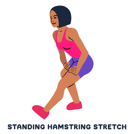 Standing hamsting stretch. Sport exersice. Silhouettes of woman doing exercise. Workout, training Vector illustration  イラスト・ベクター素材