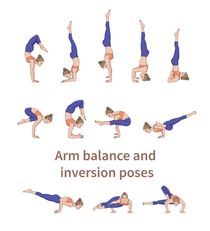 Women silhouettes. Collection of yoga poses. Asana set. Vector illustration. Arm balance and inversion poses