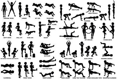 Ejercicio deportivo. Siluetas de mujer haciendo ejercicio. Entrenamiento, entrenamiento ilustración vectorial. Saltos, estocadas, sentadillas, abdominales, flexiones, sentadillas en plancha y más