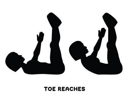 Zehe erreicht. Knirschen. Sportübung. Silhouetten der Frau, die Übung macht. Training, Training Vektor-Illustration Vektorgrafik