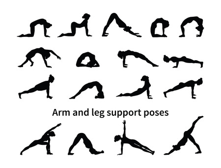 Women silhouettes. Collection of yoga poses. Asana set. Vector illustration. Arm and leg support poses Illustration