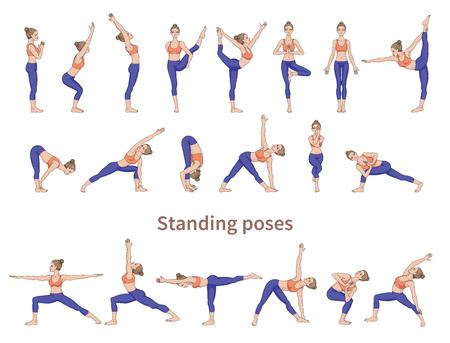Siluetas de mujeres. Colección de posturas de yoga. Conjunto de asanas. Ilustración de vector. Poses de pie