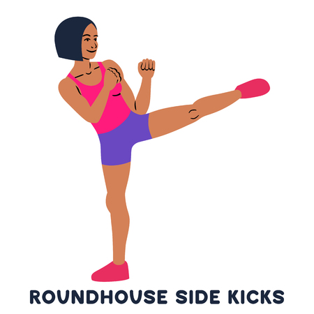 Roundhouse side kicks. Side kick. Sport exersice. Silhouettes of woman doing exercise. Workout, training Vector illustration