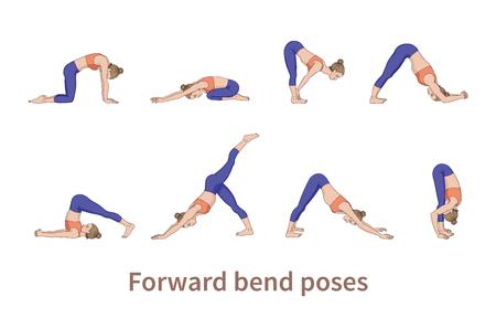 Siluetas de mujeres. Colección de posturas de yoga. Conjunto de asana. Ilustración vectorial. Poses de flexión hacia adelante Ilustración de vector