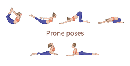 Women silhouettes. Collection of yoga poses. Asana set. Vector illustration. Prone poses Stock Photo