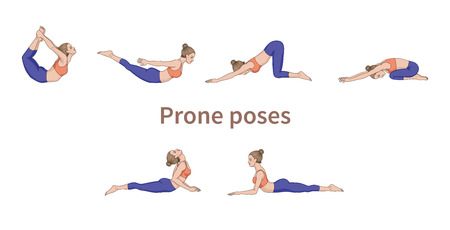 Women silhouettes. Collection of yoga poses. Asana set. Vector illustration. Prone poses