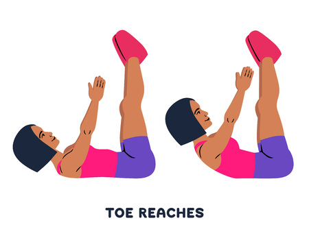 Toe reaches. Crunches. Sport exersice. Silhouettes of woman doing exercise. Workout, training Vector illustration