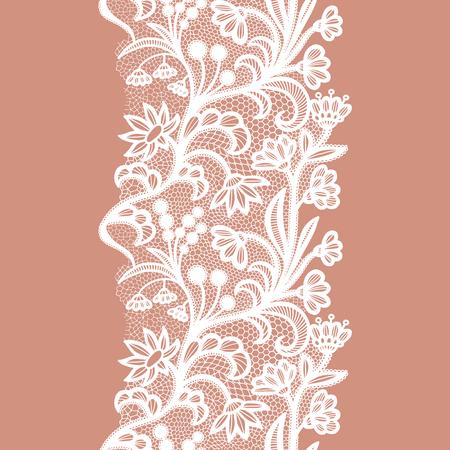 Adorno elegante vintage de encaje blanco. Ilustración vectorial
