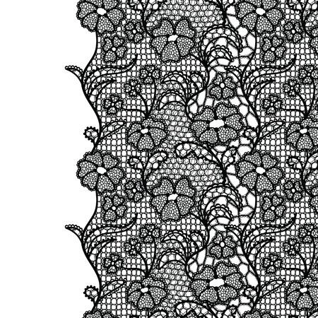 Bordo in pizzo senza soluzione di continuità. Illustrazione vettoriale Finiture eleganti vintage in pizzo nero.