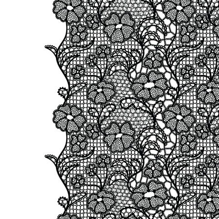 Seamless lace border. Vector illustration. Black lacy vintage elegant trim.  イラスト・ベクター素材