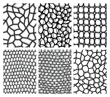 Collection of lace seamless backgrounds. Vector illustration