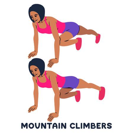 Alpinistes. Exercices sportifs. Silhouettes de femme faisant de l'exercice. Entraînement, formation Illustration vectorielle