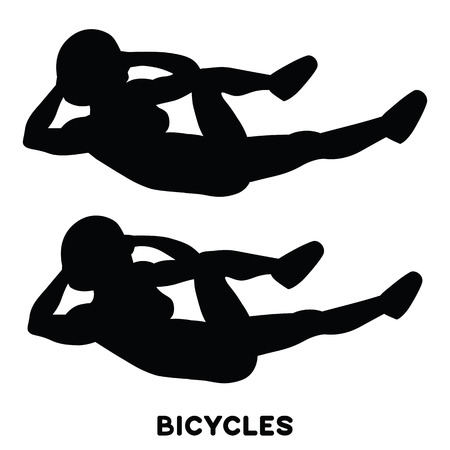 Bicycles. Elbow to cnee crunches. Cross body crunches. Sport exersice. Silhouettes of woman doing exercise. Workout, training Vector illustration