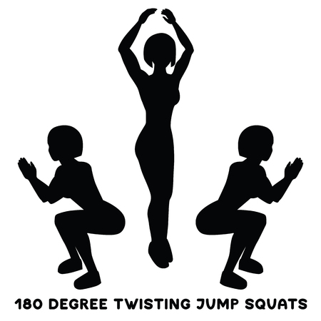 180 degree twisting jump squats. Sport exersice. Silhouettes of woman doing exercise. Workout, training Vector illustration