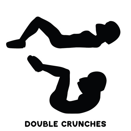 Double crunches. Double crunch. Sport exersice. Silhouettes of woman doing exercise. Workout, training Vector illustration