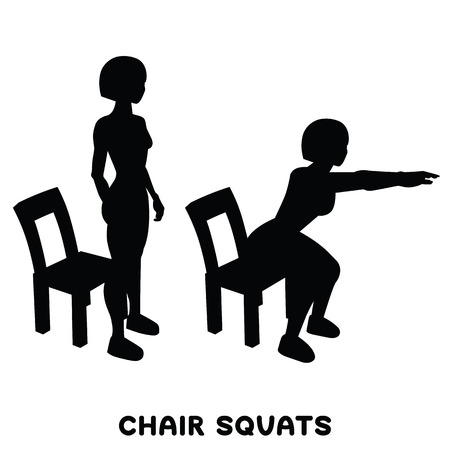 Chair squats. Squat. Sport exersice. Silhouettes of woman doing exercise. Workout, training Vector illustration