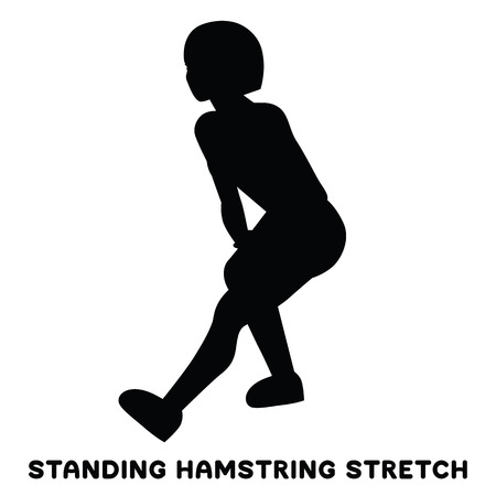 Standing hamsting stretch. Sport exersice. Silhouettes of woman doing exercise. Workout, training Vector illustration Illustration