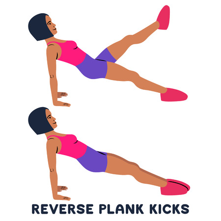 Reverse plank kicks. Reverse plank. Silhouettes of woman doing exercise. Workout, training Vector illustration