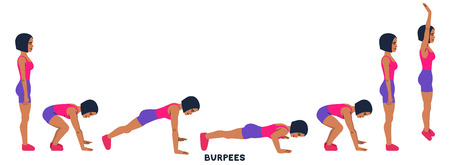 Burpee. Burpees. Sport exersice. Silhouettes of woman doing exercise. Workout, training Vector illustration