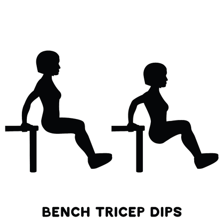 Chair. Bench triceps dips. Sport exercise. Silhouettes of woman doing exercise. Workout, training Vector illustration Stock Photo