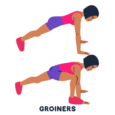 Groiners. Plank. Planking. Sport exercise. Silhouettes of woman doing exercise. Workout, training Vector illustration Stock Photo