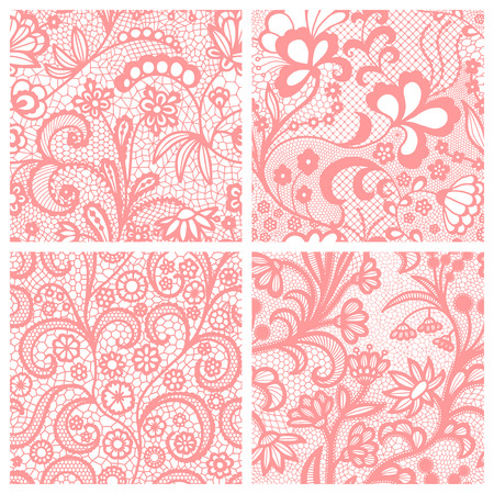 Pink lace seamless patterns with flowers on white background