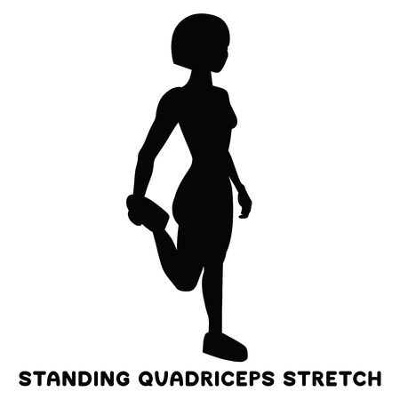 Standing quadriceps stretch. Sport exercise. Silhouettes of woman doing exercise. Workout, training Vector illustration