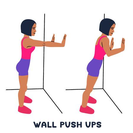 Flessioni a parete. Esercizio sportivo. Siluette della donna che fa esercizio. Allenamento, allenamento Illustrazione vettoriale