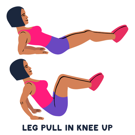 Leg pull in knee up. Sport exersice. Silhouettes of woman doing exercise. Workout, training Vector illustration Ilustração
