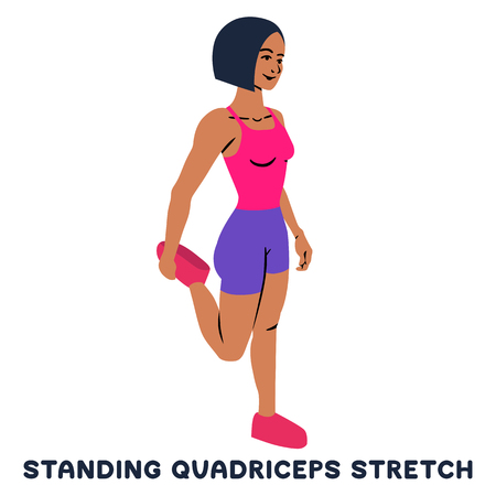Standing quadriceps stretch. Sport exersice. Silhouettes of woman doing exercise. Workout, training Vector illustration 矢量图像