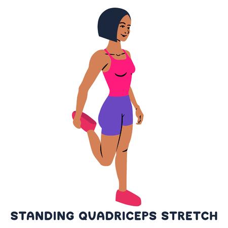 Stehender Quadrizeps dehnen. Sportübung. Silhouetten der Frau, die Übung macht. Training, Training Vektor-Illustration