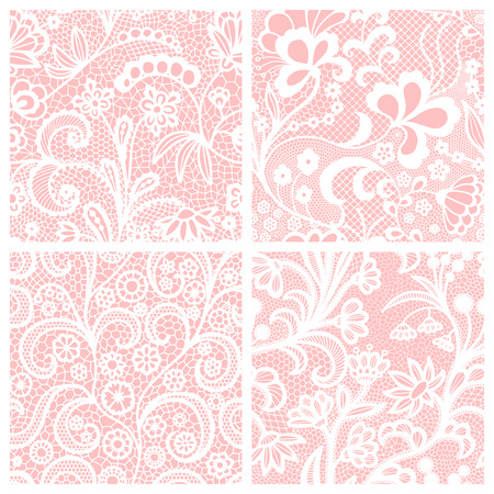 White lace seamless patterns with flowers on pink background