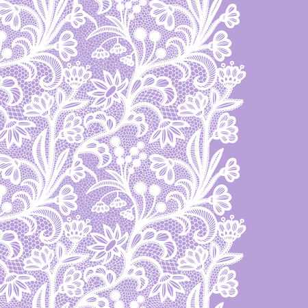 Bezszwowa granica koronki. Ilustracja wektorowa. Biała koronkowa elegancka lamówka w stylu vintage.