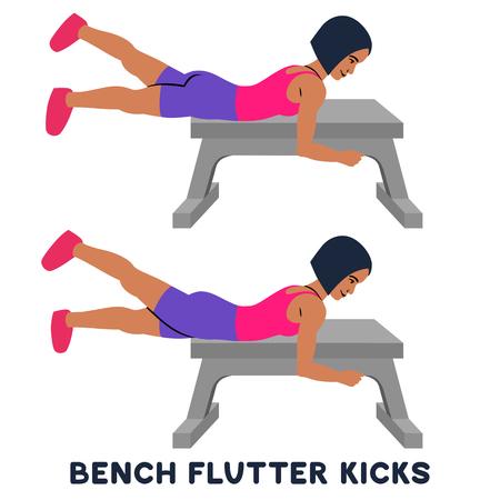 Bench flutter kicks. Sport exersice. Silhouettes of woman doing exercise. Workout, training Vector illustration Ilustração Vetorial