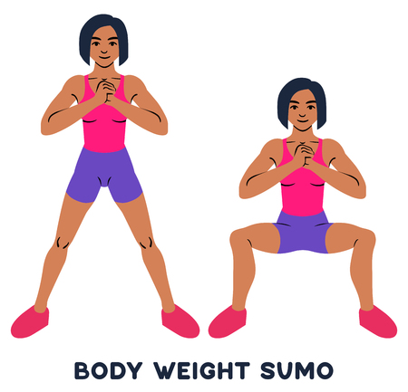Body weight sumo. Wide stance squats.Sport exercise. Silhouettes of woman doing exercise. Workout, training Vector illustration