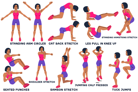 Standing arm circles. Cat back stretch. Leg pull in knee up. Standing hamsting stretch. Seated punches. Shoulder stretch. Samson stretch. Jumping calf press. Tuck jumps. Sport exersice. Silhouettes of woman doing exercise. Workout, training Vector illustration