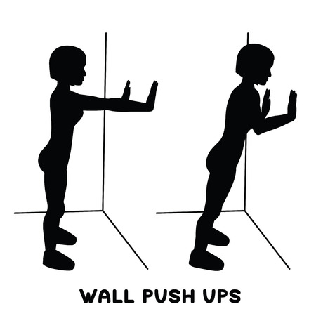 Wall push ups. Sport exersice. Silhouettes of woman doing exercise. Workout, training Vector illustration Illustration