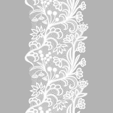 White lacy vintage elegant trim. Vector illustration. Vetores