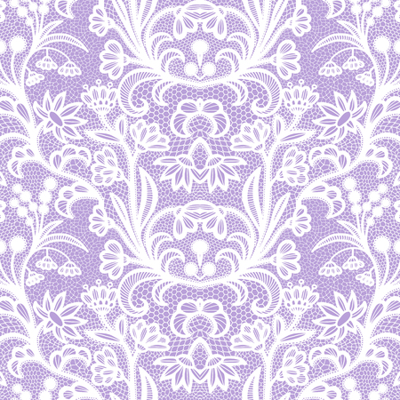 Lace White seamless pattern with flowers on violet background