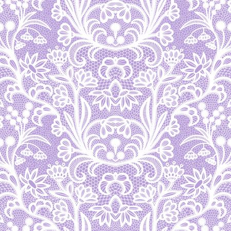 Patrón transparente de encaje blanco con flores sobre fondo violeta