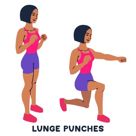 Estocadas. Lunge puñetazos. Ejercicio deportivo. Siluetas de mujer haciendo ejercicio. Entrenamiento, entrenamiento ilustración vectorial
