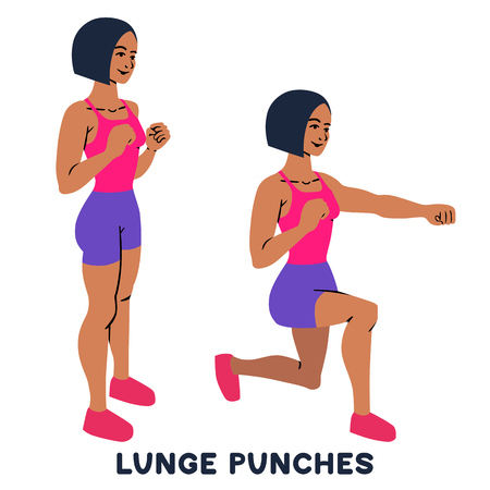 Lunges. Lunge punches. Sport exersice. Silhouettes of woman doing exercise. Workout, training Vector illustration