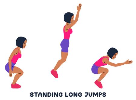 Saltos largos de pie. Ejercicio deportivo. Siluetas de mujer haciendo ejercicio. Entrenamiento, entrenamiento ilustración vectorial