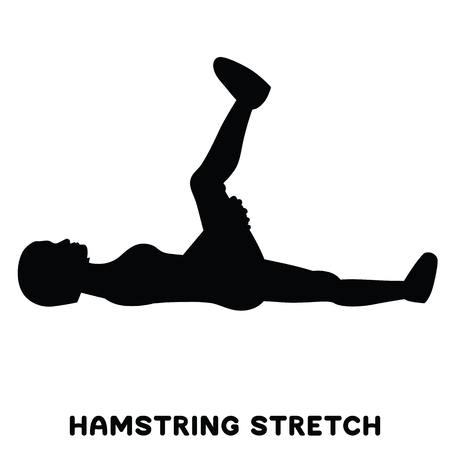 Kniesehne dehnen. Sportliche Übung. Silhouetten der Frau, die Übung macht. Training, Training Vektor-Illustration