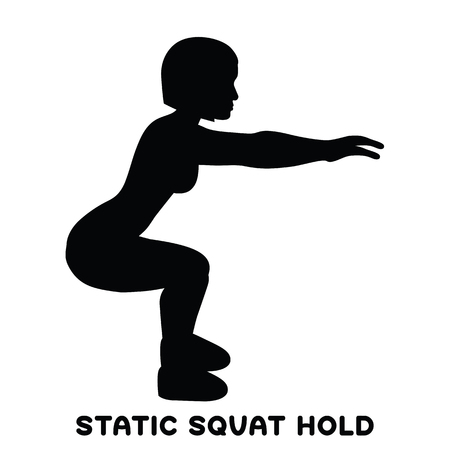 Static squat hold. Squat. Sport exersice. Silhouettes of woman doing exercise. Workout, training Vector illustration Illustration