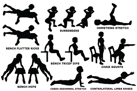 Bench flutter kicks. Surrenders. Hamstring stretch. Bench biceps dips. Chair squats. Bench hops. Cobra abdominal stretch. Contralateral limbs raises. Sport exercise. Silhouettes of woman doing exercise. Workout, training Vector illustration Illustration