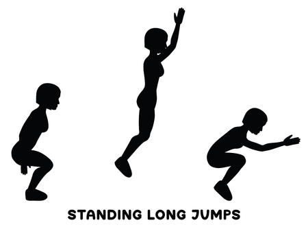 Standing long jumps. Sport exercise. Silhouettes of woman doing exercise. Workout, training Vector illustration